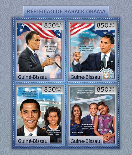 Barack Obama reelection 2012. - Issue of Guinée-Bissau postage stamps