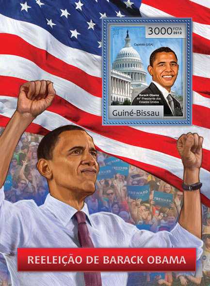 Barack Obama reelection 2012. - Issue of Guinée-Bissau postage stamps