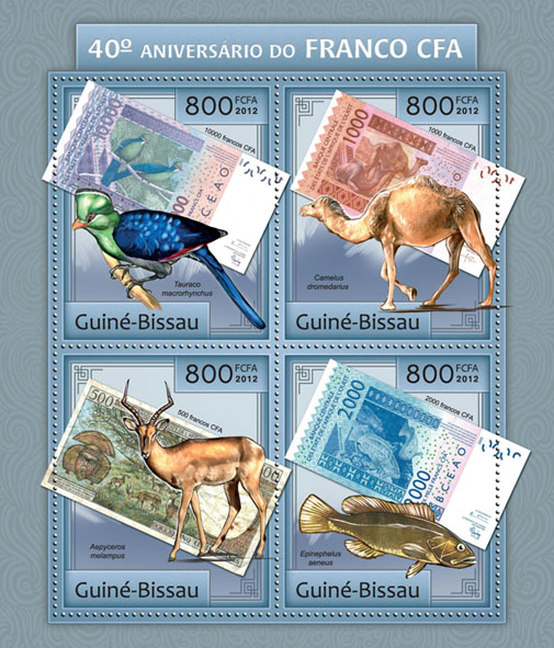 40th Anniversary of CFA (afrikosnfranks). - Issue of Guinée-Bissau postage stamps