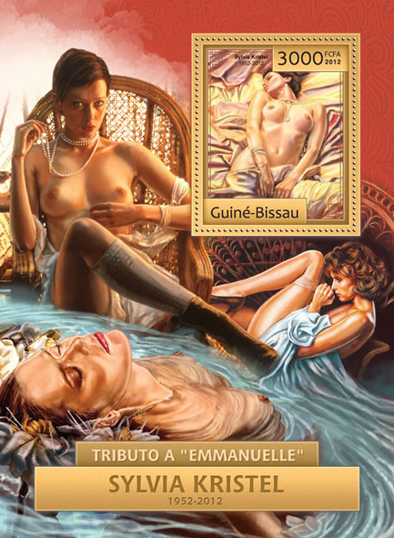 Tribute to Emanuelle (Sylvia Kristel, 1952-2012). - Issue of Guinée-Bissau postage stamps