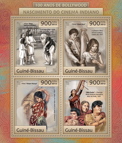 100 Years Of Bollywood.: Birth Of Indian Cinema. - Issue of Guinée-Bissau postage stamps