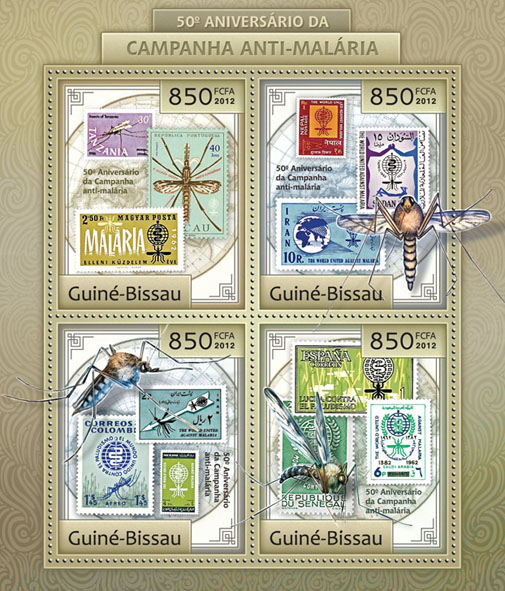 50th anniversary anti-malaria campaign (stamp in stamp). - Issue of Guinée-Bissau postage stamps