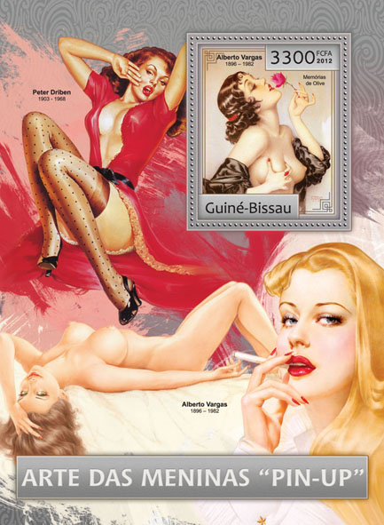 Pin up girls (art). - Issue of Guinée-Bissau postage stamps