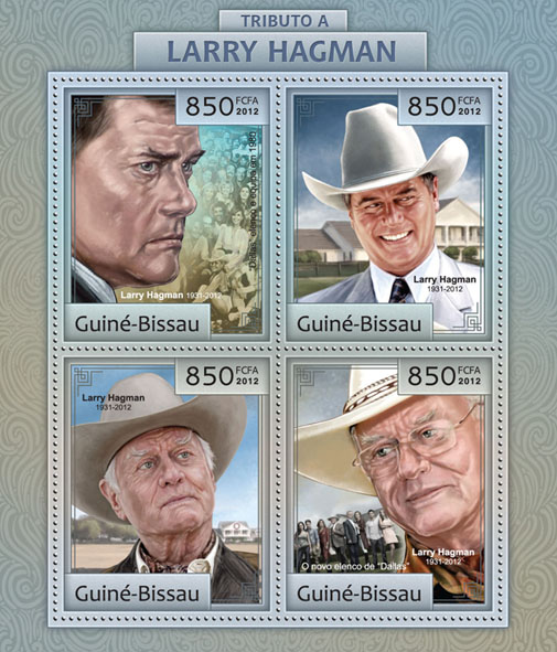 Tribute to Larry Hagman (DALLAS). - Issue of Guinée-Bissau postage stamps