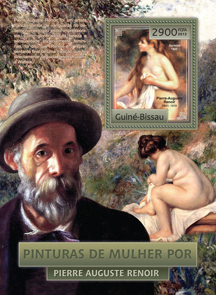 Woman painting by Renoir (nudes). - Issue of Guinée-Bissau postage stamps
