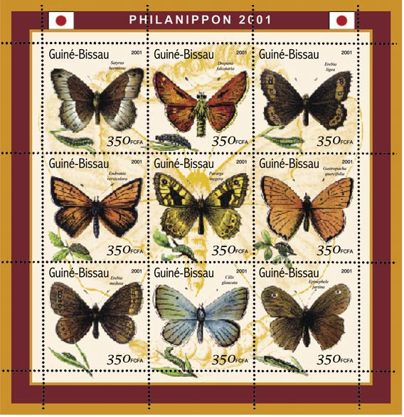 Papillons (Philanipon 2001) - Butterflies  9 x 200 FCFA - Issue of Guinée-Bissau postage stamps