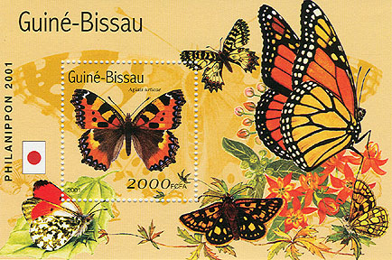 Papillons (Philanipon 2001) - Butterflies  S/S 2000 FCFA - Issue of Guinée-Bissau postage stamps