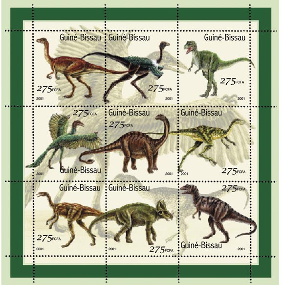 Dinosaures - Dinosaurs   9 x 275 FCFA - Issue of Guinée-Bissau postage stamps