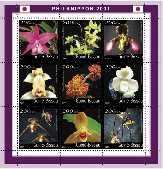Orchidees (Philanipon 2001) - Orchids   9 x 200 FCFA - Issue of Guinée-Bissau postage stamps