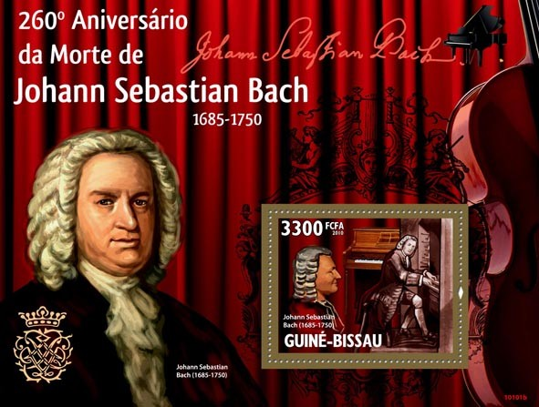 260th Anniversary of Johann Sebastian Bach & music instruments - Issue of Guinée-Bissau postage stamps