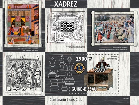 Chess in Art & Lions Club - Issue of Guinée-Bissau postage stamps