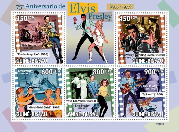 75th Anniversary of  Elvis Presley ( 1935 -1977 ) - Issue of Guinée-Bissau postage stamps