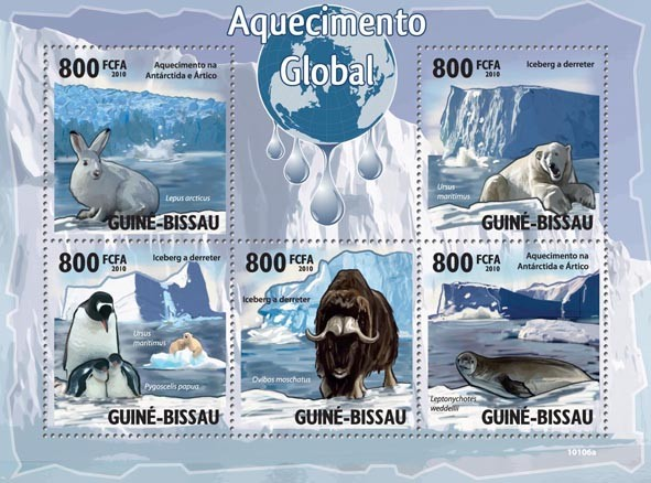 Global Warming & Animals - Issue of Guinée-Bissau postage stamps