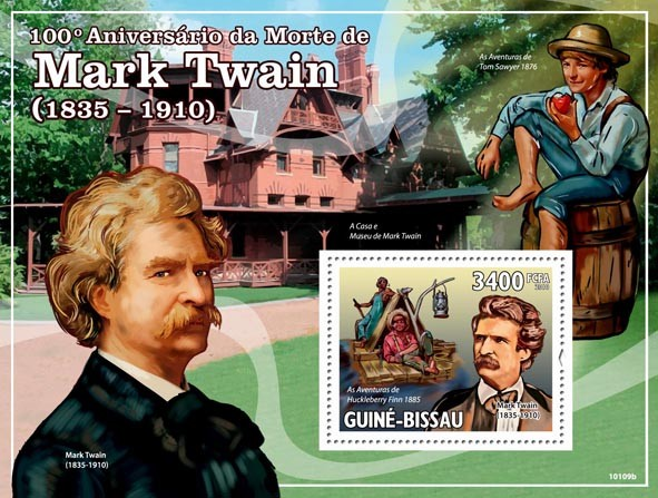 100th Anniversary of death of Mark Twain  ( 1835  1910 ) - Issue of Guinée-Bissau postage stamps