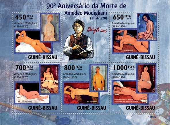 90th Anniversary of death of Amadeo Modigliani ( 1884  1920 ) - Issue of Guinée-Bissau postage stamps