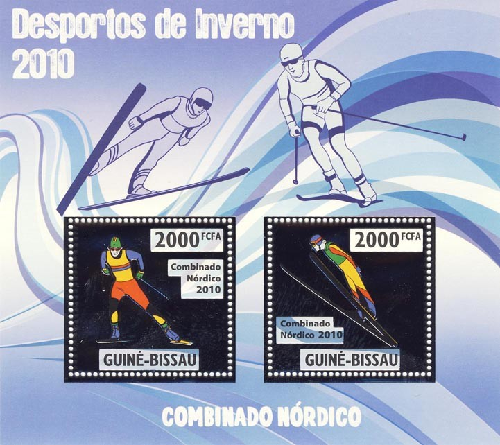 Nordic Combined - Issue of Guinée-Bissau postage stamps