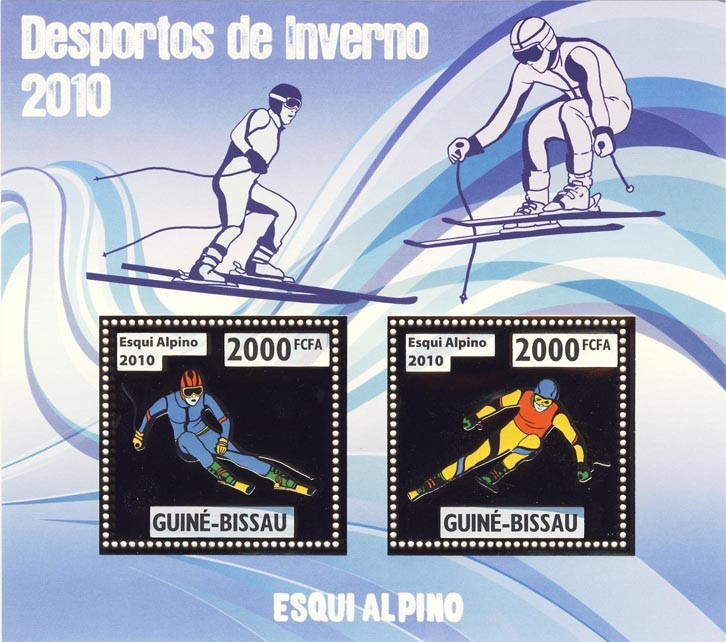 Alpine Skiing - Issue of Guinée-Bissau postage stamps