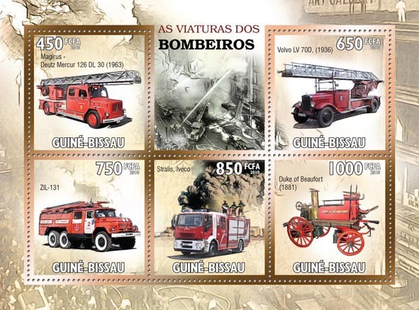 Fire Engines - Issue of Guinée-Bissau postage stamps