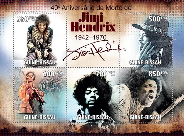 Jimi Hendrix, ( 1942  1970 ) - Issue of Guinée-Bissau postage stamps