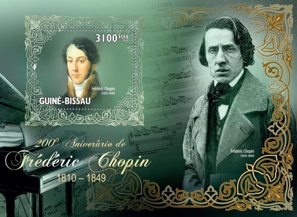 Frederick Chopin, (1810-1849) - Issue of Guinée-Bissau postage stamps