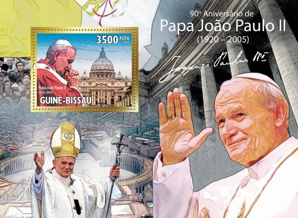 Pope John Paul II, ( 1920  2005 ) - Issue of Guinée-Bissau postage stamps