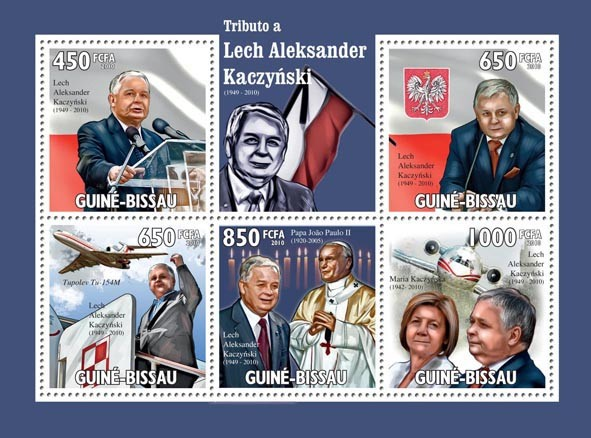 Tribute to Lech Alexander Kaczynski, (1949  2010 ) - Issue of Guinée-Bissau postage stamps