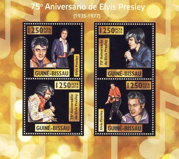 75th Anniversary of  Elvis Presley,  (1935  1977 ) - Issue of Guinée-Bissau postage stamps