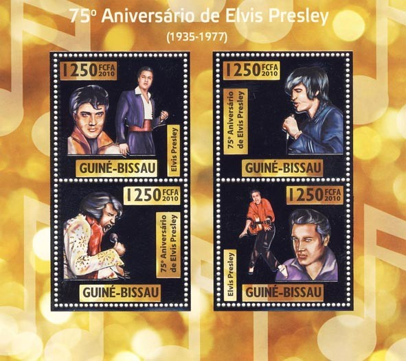 75th Anniversary of  Elvis Presley,(1935  1977 ) - Issue of Guinée-Bissau postage stamps