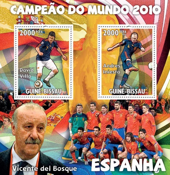 Spain  FIFA World Champions 2010 ?タᆵ, David Villa, Andres Iniesta, V.del Bosque  - <I><u><B><FONT color=#cc0000>SOLD_OUT</FONT></B> – Issue of Guinée-Bissau postage stamps'/></a></div> <div class=