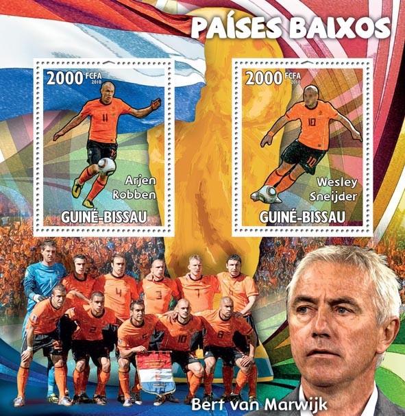 The Netherlands,Arjen Robben, Wesley Sneijder, B.van Marwijk - Issue of Guinée-Bissau postage stamps
