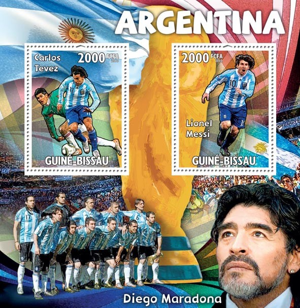 Argentina,Carlos Tevez, Lionel Messi, D.Maradona - Issue of Guinée-Bissau postage stamps
