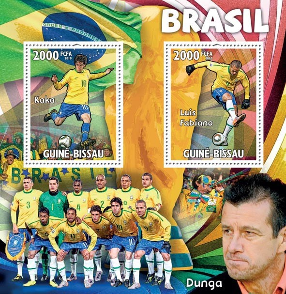 Brasil, Kaka, Luis Fabiano, Dunga - Issue of Guinée-Bissau postage stamps