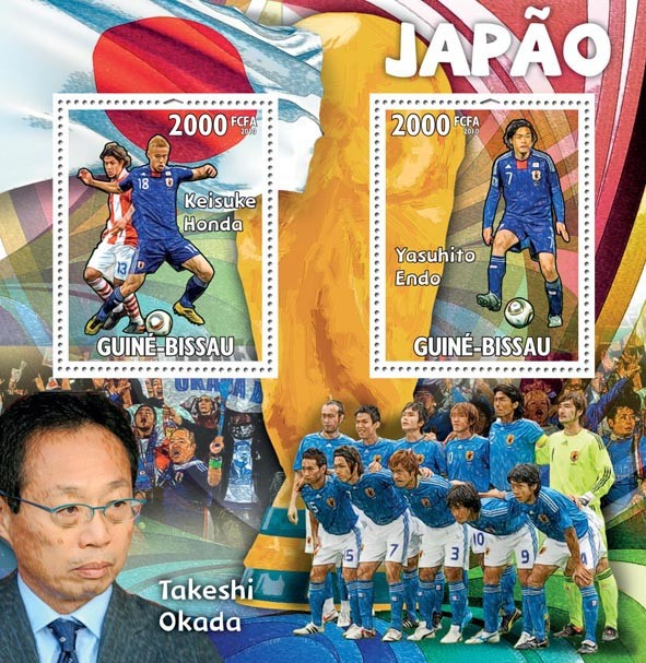 Japan,Keisuke Honda, Yasuhito Endo, T.Okada - Issue of Guinée-Bissau postage stamps