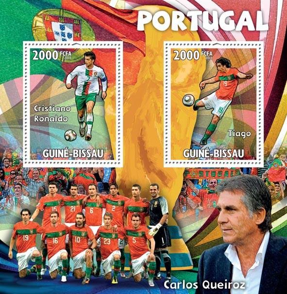 Portugal,Cristiano Ronaldo, Tiago, C.Queiroz - Issue of Guinée-Bissau postage stamps