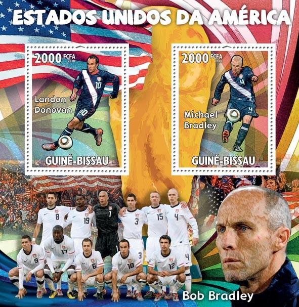 United States of America,Landon Donovan, Michael Bradley, B.Bradley - Issue of Guinée-Bissau postage stamps