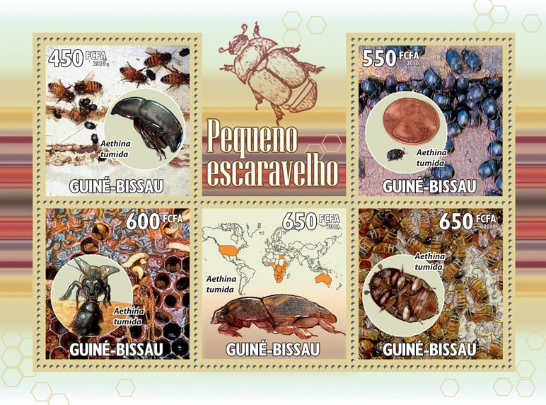 Small Hive Beatle & Bees - Issue of Guinée-Bissau postage stamps