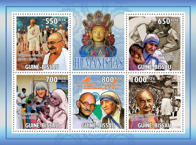 Humanists (Mahatama Gandhi, Mother Teresa) - Issue of Guinée-Bissau postage stamps