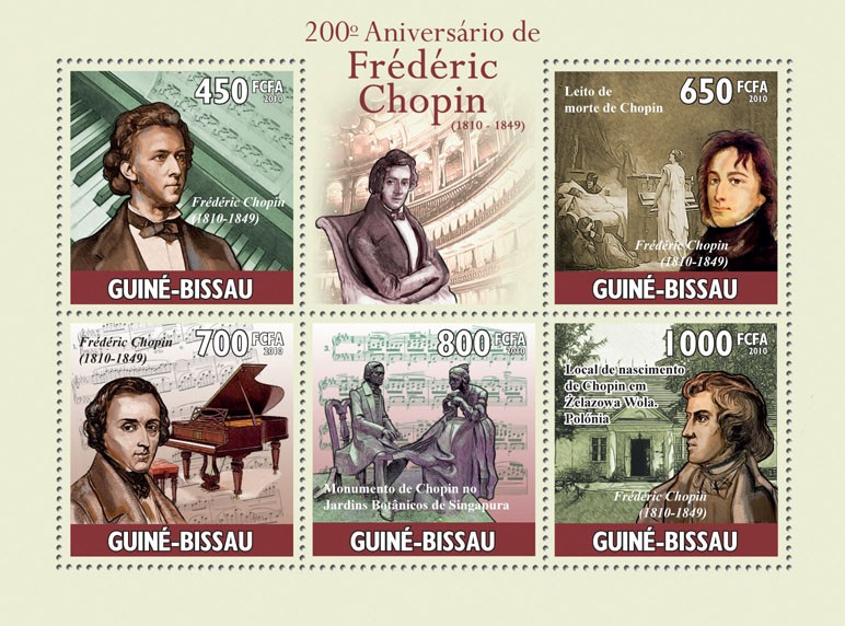 200th anniversary of Frederic Chopin (1810-1849) - Issue of Guinée-Bissau postage stamps