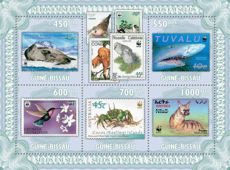 Stamp on stamp (WWF  Fauna) - Issue of Guinée-Bissau postage stamps