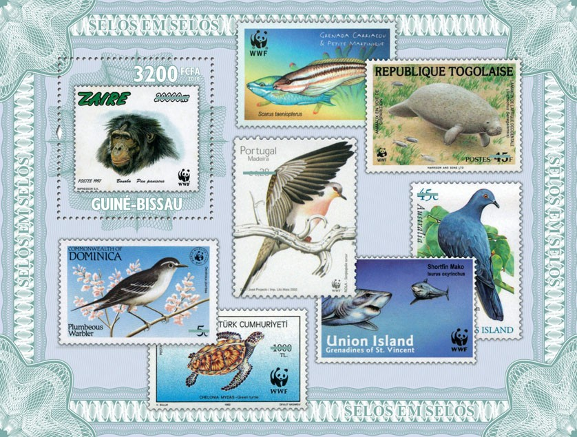 Stamp on stamp (WWF - Fauna) - Issue of Guinée-Bissau postage stamps