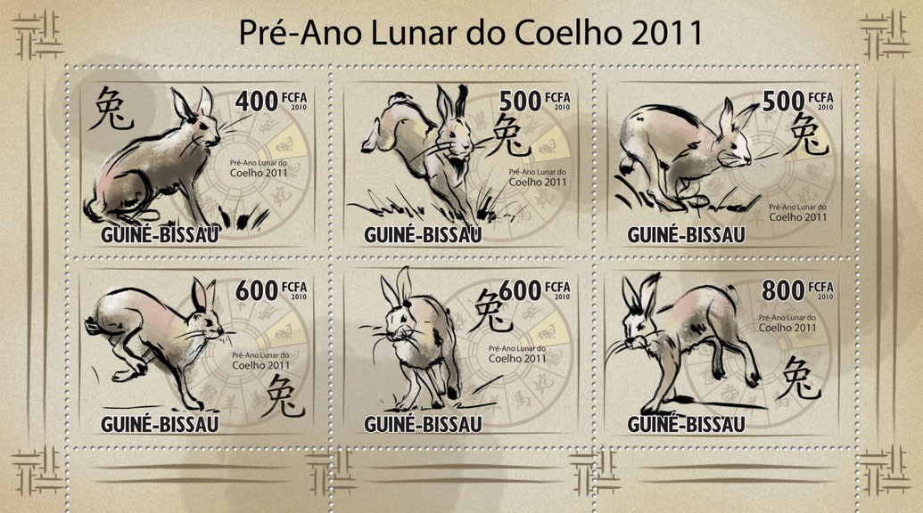 Pre-Lunar Year of the Rabbit 2011 - Issue of Guinée-Bissau postage stamps