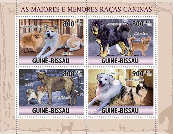 Largest & Smallest Dogs. - Issue of Guinée-Bissau postage stamps