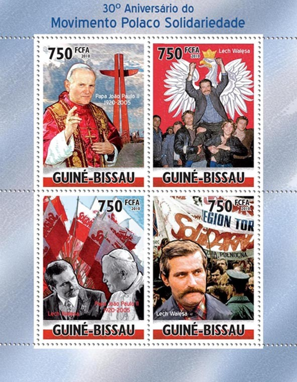 30th Anniversary of Polish Solidarity Movement, ( Pope & Lech Valesa ). - Issue of Guinée-Bissau postage stamps