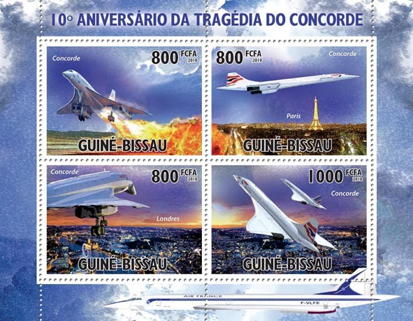 10th Anniversary Concorde Tragedy. - Issue of Guinée-Bissau postage stamps