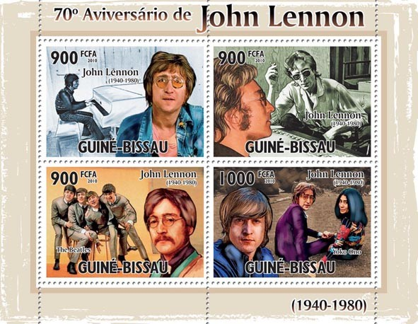 70th Anniversary of John Lennon (1940-1890) - Issue of Guinée-Bissau postage stamps