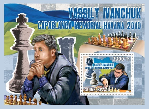 Chess - Havana 2010, Vassily Ivanchuk. - Issue of Guinée-Bissau postage stamps