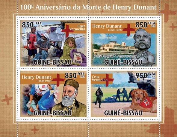 100th Anniversary of Death Henry Dunant ( Red Cross ). - Issue of Guinée-Bissau postage stamps