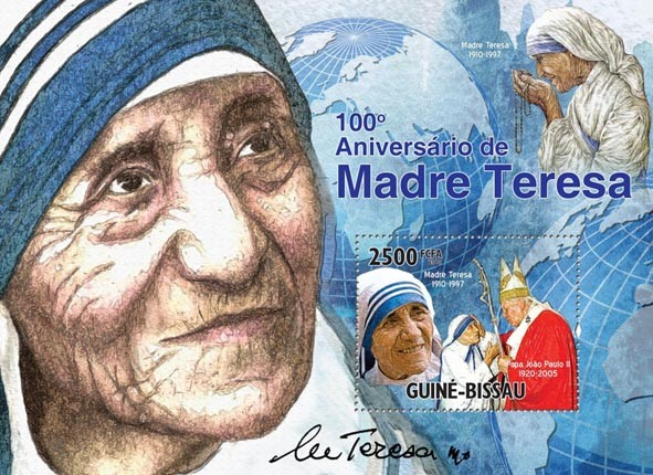 Mother Teresa & Pope. - Issue of Guinée-Bissau postage stamps