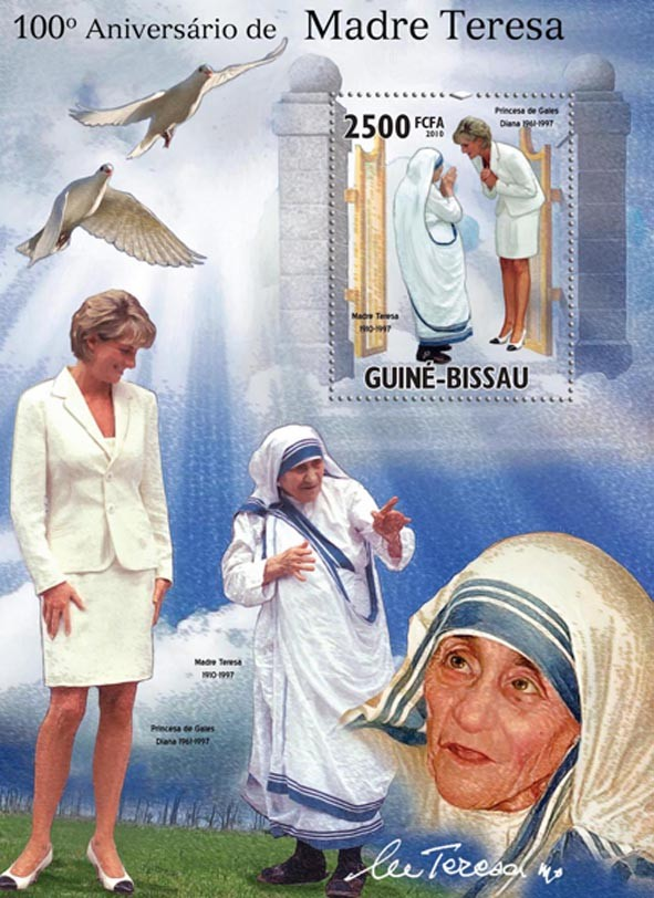 Mother Teresa & Diana. - Issue of Guinée-Bissau postage stamps