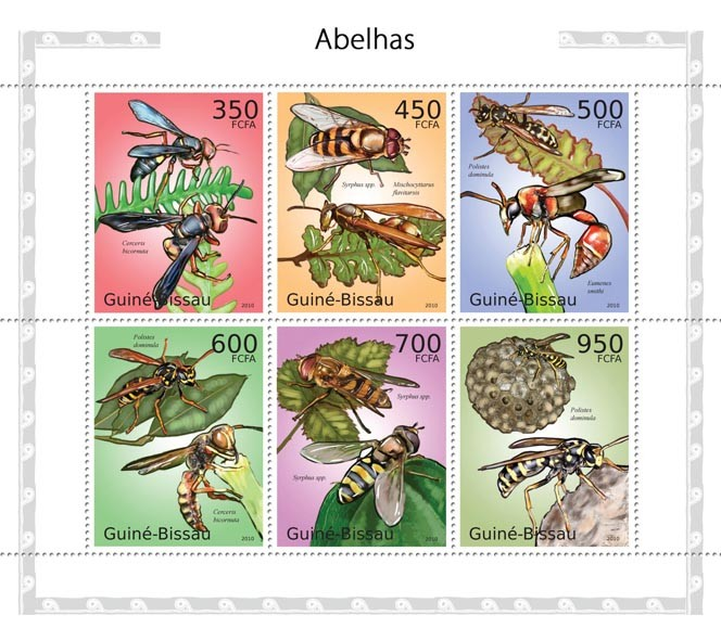Wasps - Issue of Guinée-Bissau postage stamps
